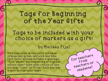 Beginning of the Year Teacher Gift Tags for Markers