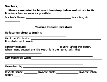 Beginning of the Year Teacher Interest Inventory