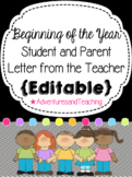Beginning of the Year Teacher Letter to Students and Parents {Editable}