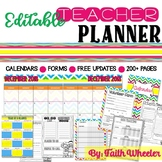 Editable Teacher Binder & Organization Packet (Rainbow Chevron)