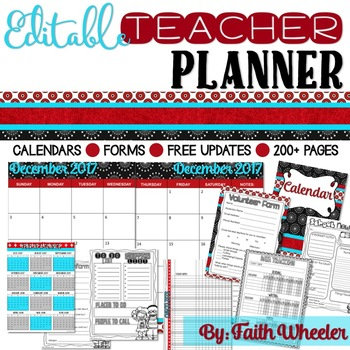 Editable Teacher Planner (Black, Red, White, & Teal)