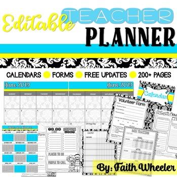 Editable Teacher Planner (Damask)