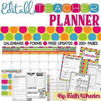 editable teacher planner polka dots by faith wheeler tpt
