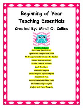 Beginning of the Year Teaching Essentials (Owl Theme)