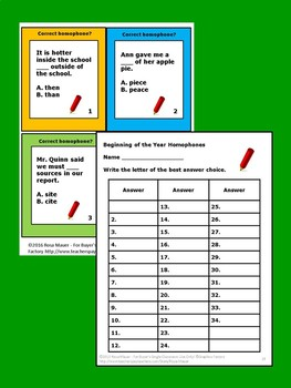 Homophones Beginning of the Year Task Cards