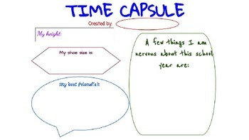 Beginning of the Year Time Capsule Packet