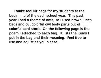 Beginning of the Year Tool Kit Poem