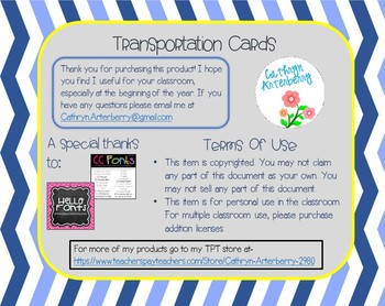 Beginning of the Year - Transportation Cards