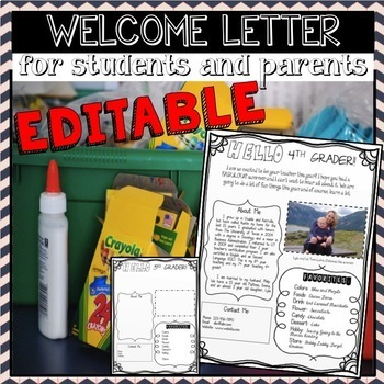 Beginning of the Year - Welcome Letter from Teacher to Students and Parents