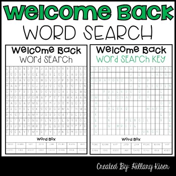 Beginning of the Year Word Search