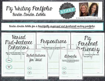 Writing Portfolio Labels - Binder Dividers