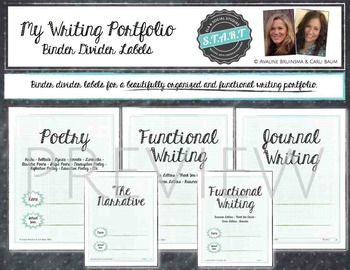Writing Portfolio Labels - Binder Dividers