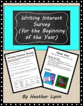 Beginning of the Year Writing Survey