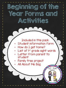 Beginning of the Year forms and activities