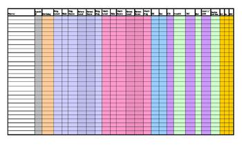 Beginning of the Year spreadsheet
