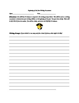 Beginning of the Year writing Assessment/Sample for 2nd Grade