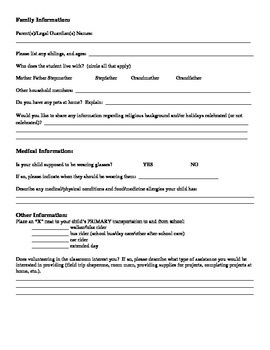 Beginning of the Year/Back to School Student Information Form FREEBIE