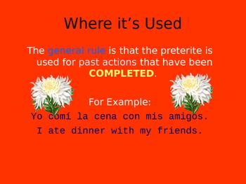 Beginning of the preterit unit PowerPoint