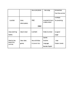 Beginning of the school year Bingo