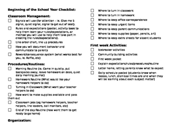 Beginning of the school year checklist