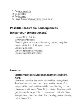 Beginning of the the Year Classroom Information Template