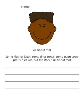 Beginning of the year All About Me activity
