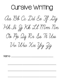 Beginning of the year Cursive Practice Activity