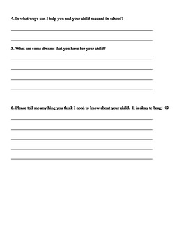 Beginning of the year HOMEWORK FOR PARENTS