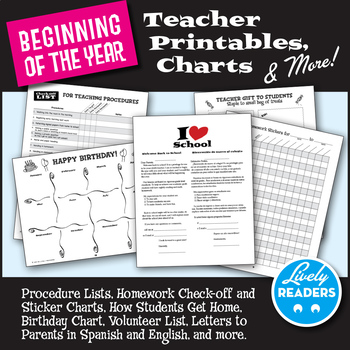 Back to School Teacher Organizers, Printables, Charts & more