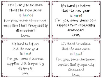 Beginning of the year - Teacher Supply Gift Tag
