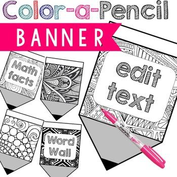 Back to school activity DIY Color a Pencil Banner (editable)