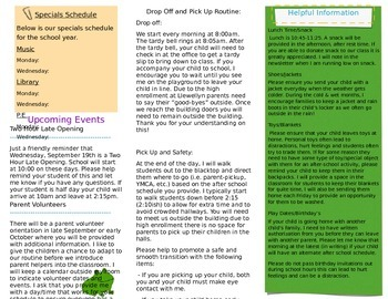 Beginning of the year brochure for parents