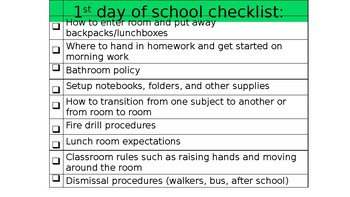 Beginning of the year checklists!