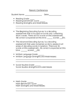 Beginning of the year conference form