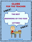 Beginning of the year letters for student information and scores