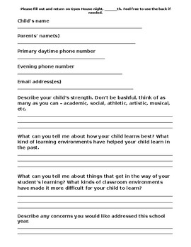 Beginning of the year parent editable questionnaire