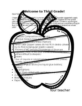 Beginning of the year school supply list