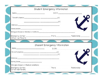 Beginning of the year  student information forms