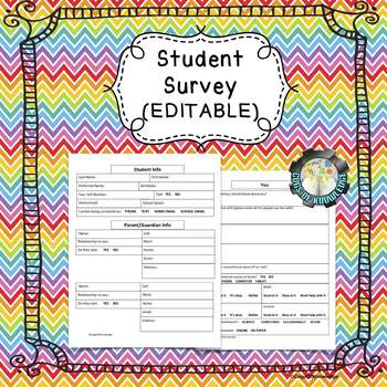 Beginning of the Year Student Survey (EDITABLE)