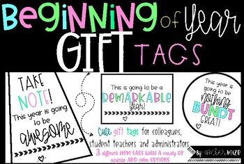 Beginning of year GIFT TAGS for Colleagues, Student Teacher or Administrators