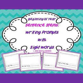 Beginning of year Sentence Stems: Writing Prompts with Sig