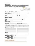 Beginning of year Student Info sheet