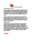 Beginning of year kindergarten parent letter (apple theme)