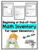 Beginning or End-Of-Year Math Inventory for Upper Elementary