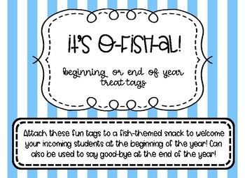 Beginning or End of Year Treat Tags