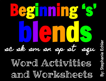 Beginning 's' Blends Word Activities and Worksheets