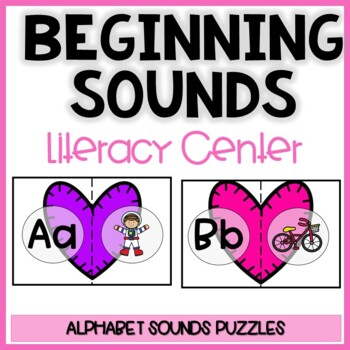 Beginning sound activity-Valentine's hearts initial sounds for centers