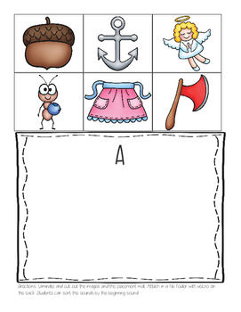 Phonemic Awareness beginning letter sound sort