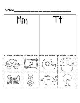 Beginning sound sorts.  Mm and Tt