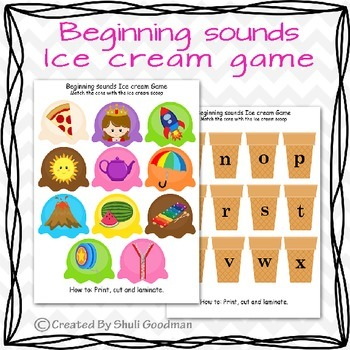 Beginning sounds Ice cream game